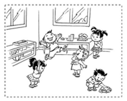 幼儿园小朋友玩耍简笔画画