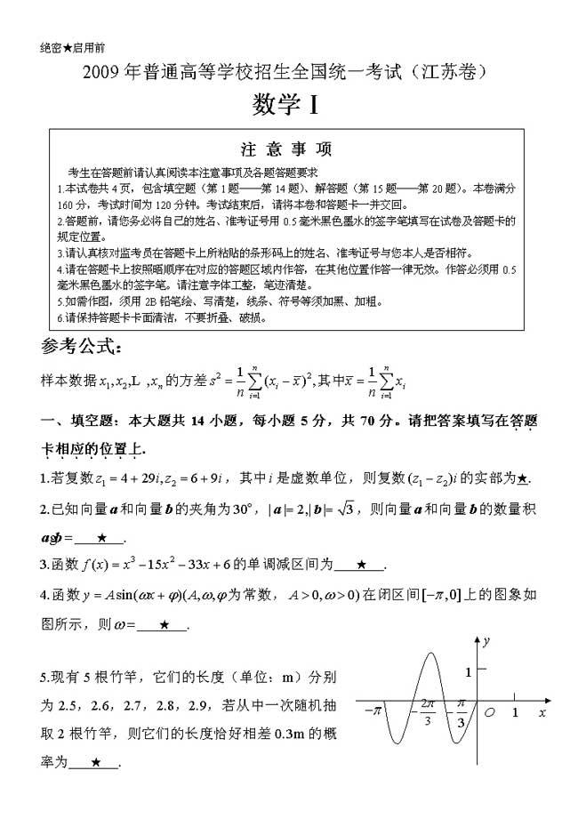 2009江苏数学高考试题--人民网教育频道 中国